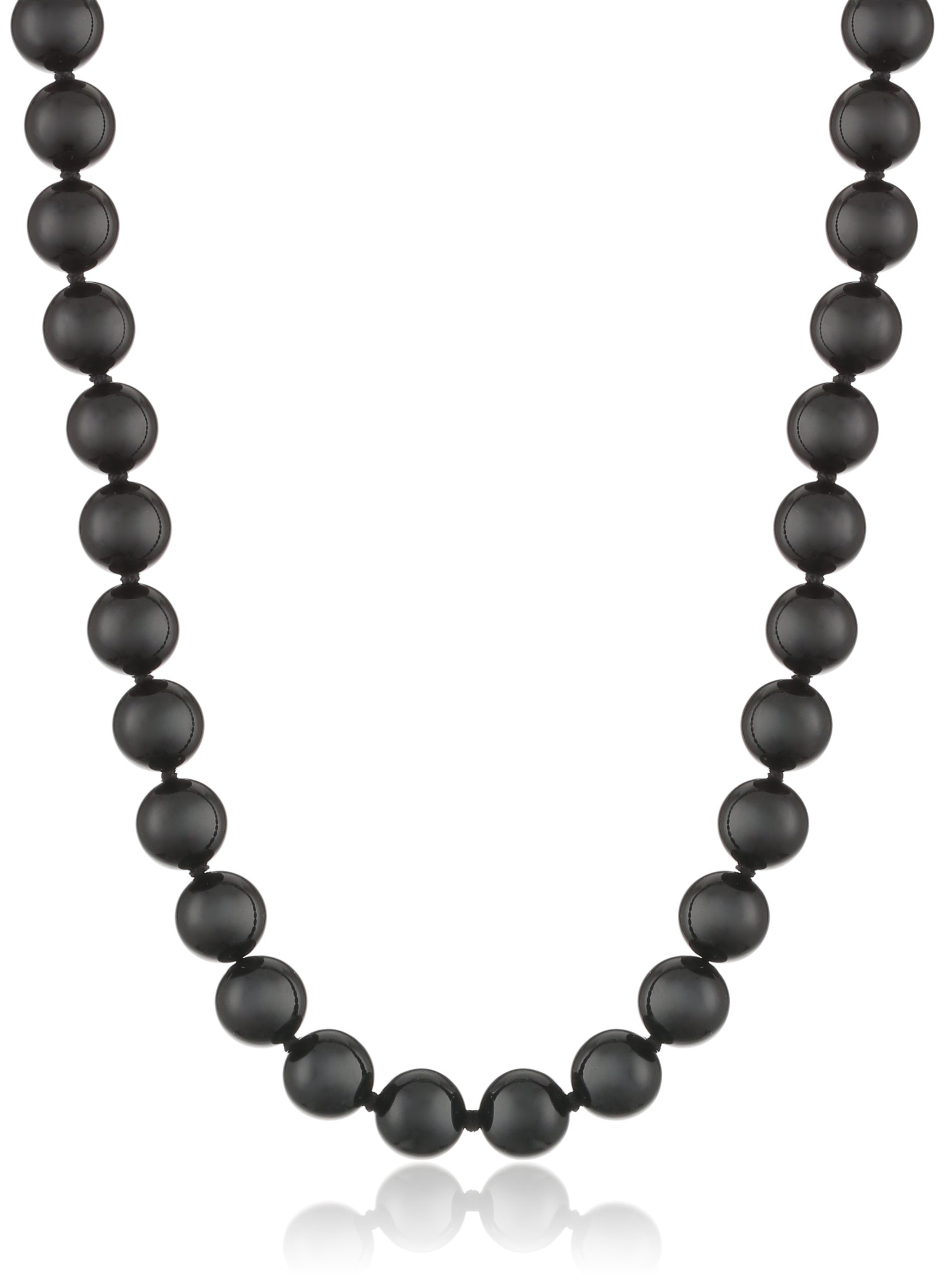 Sterling Silver 8mm Black Onyx Bead Necklace, 36''
