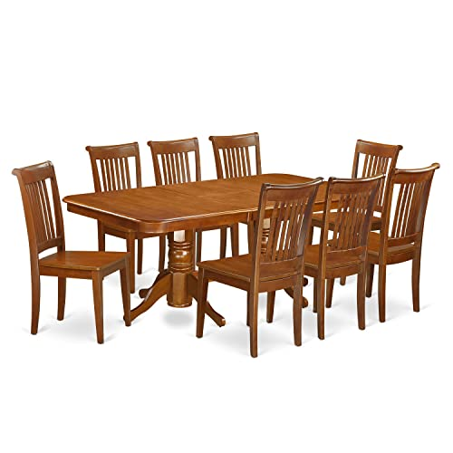 NAPO9-SBR-W 9 Pc Dining room set Table with Leaf and 8 Kitchen Dining Chairs