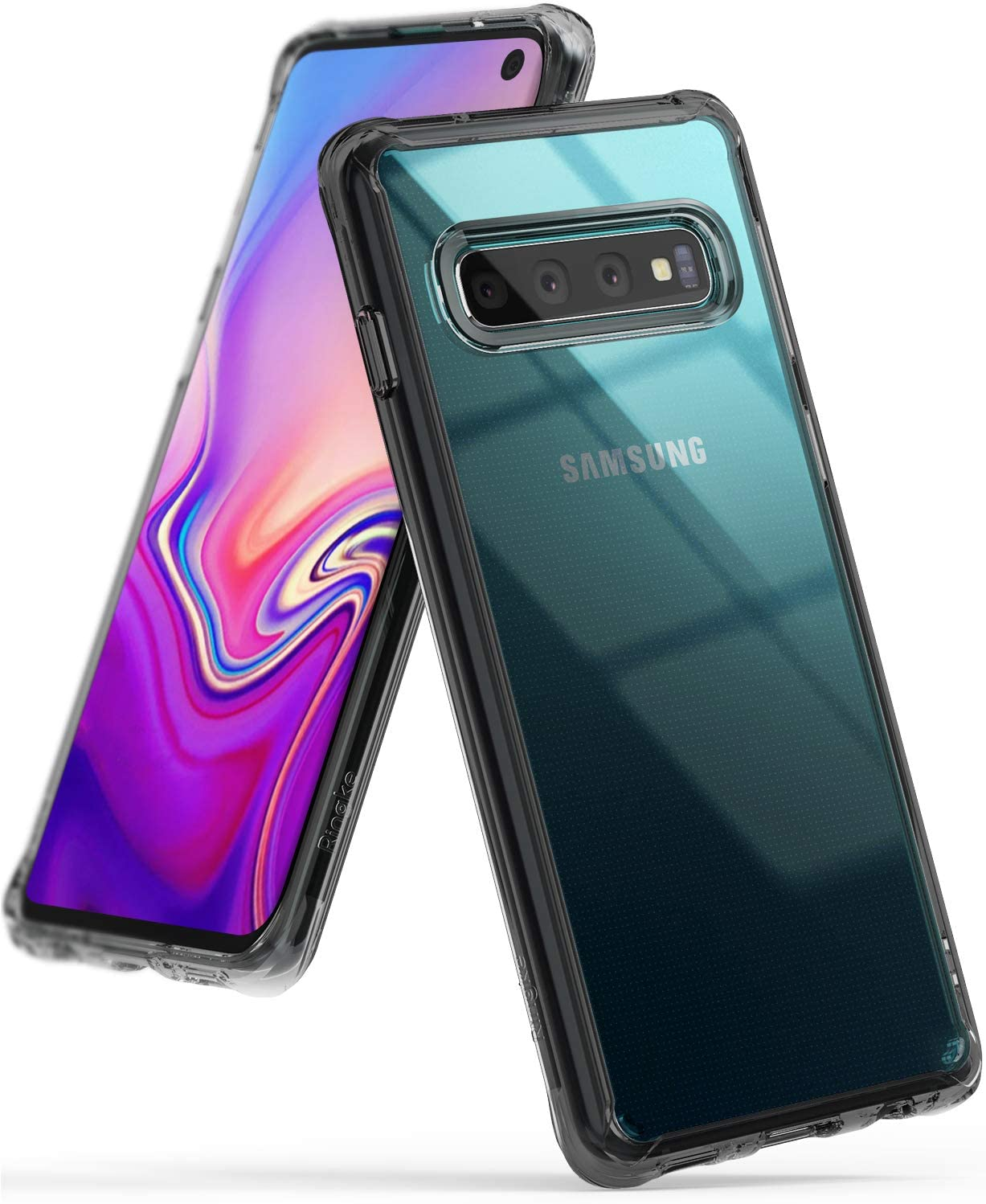 """Ringke Fusion Designed for Galaxy S10 (6.1"""") Crystal Clear PC Back Case Anti-Cling Dot Matrix Technology Lightweight Transparent TPU Bumper Drop Protective Phone Cover for Galaxy S10 - Smoke Black"""