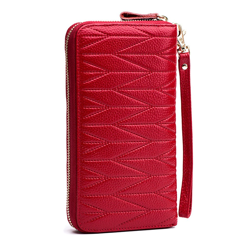 Genuine Leather 36 Card Slots RFID Wristlet Clutch Wallets with Zipper Coin Pocket