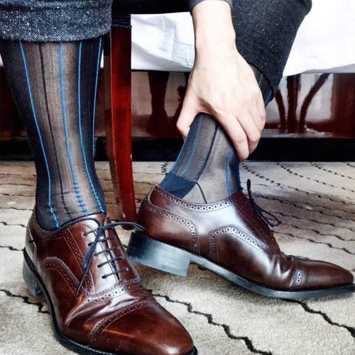 Cityelf Men Thin Dress Socks Silk Sheer Trouser Tuxedo Dress Mid-Calf Over the Calf 3 Packs