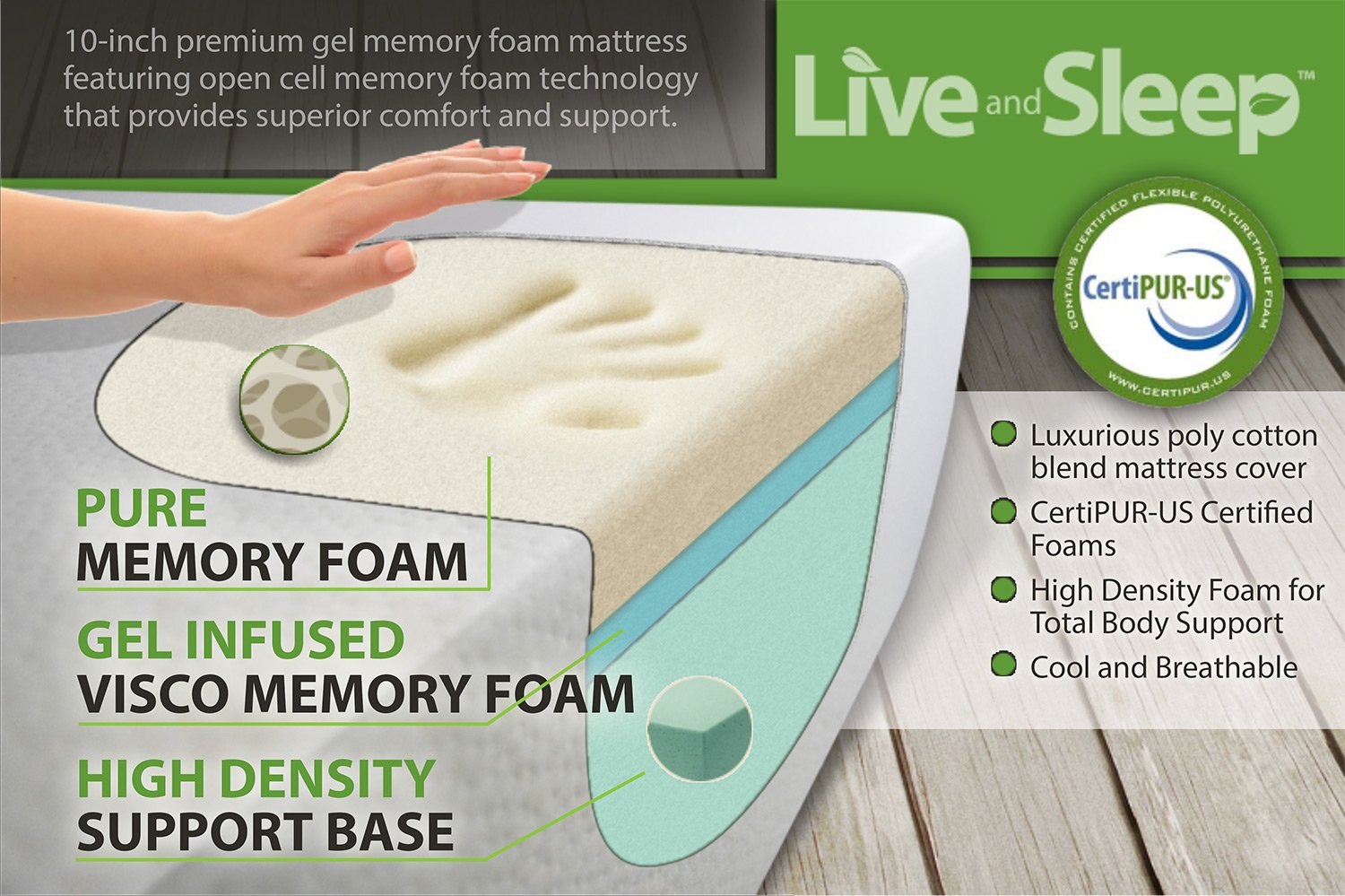 amazoncom live and sleep resort elite queen size 10inch firm cooling gel memory foam mattress with premium form pillow certipur certified plus 20year