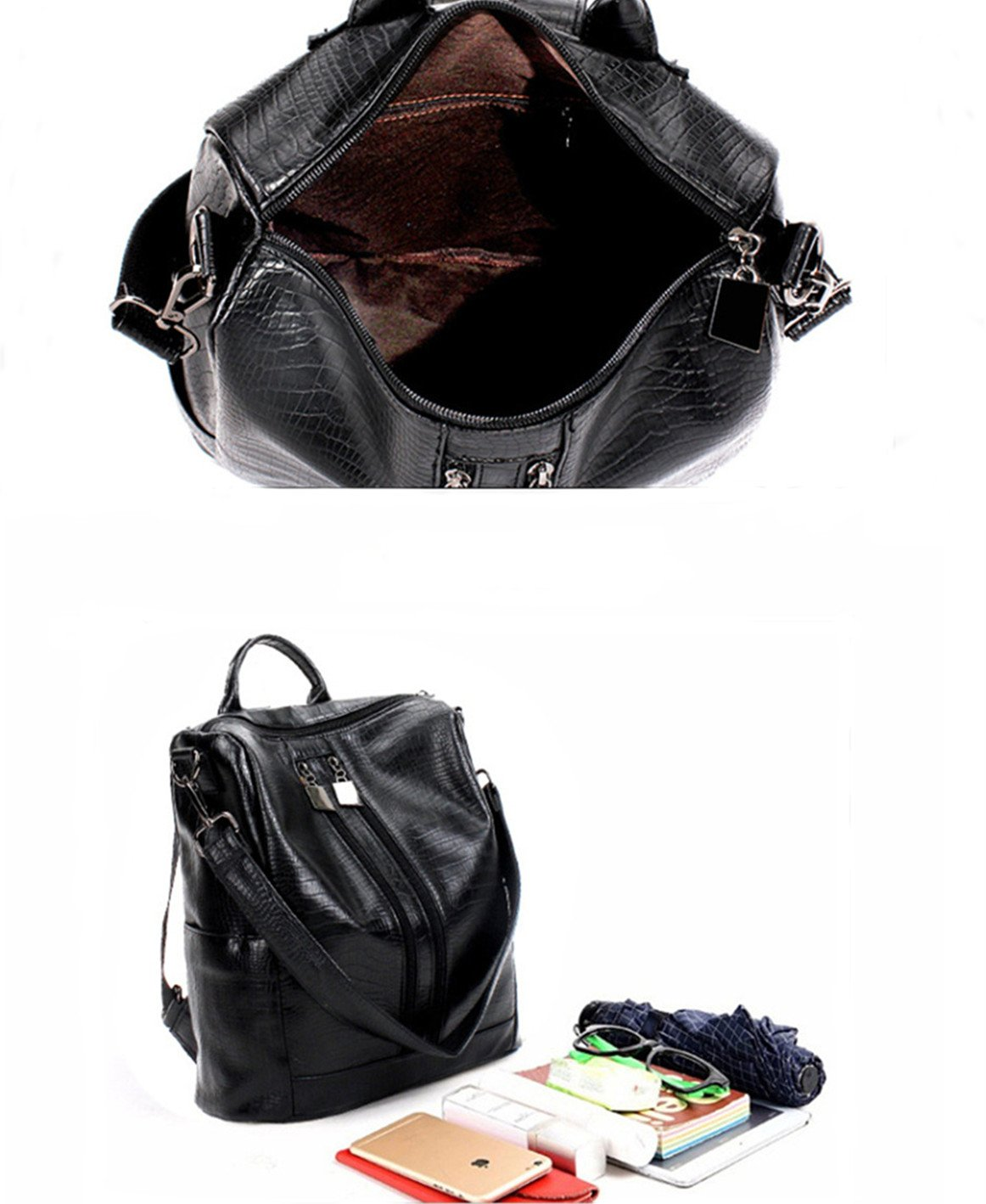 Fashion Backpack for Women Rucksack PU Leather Black Shoulder Bags Purses for Ladies Tote Bags by Goldsuntop (Image #2)