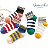 5 Pairs Women Cotton Crew Socks with Striped Pattern Soft Casual Socks(US Size 6-9 )