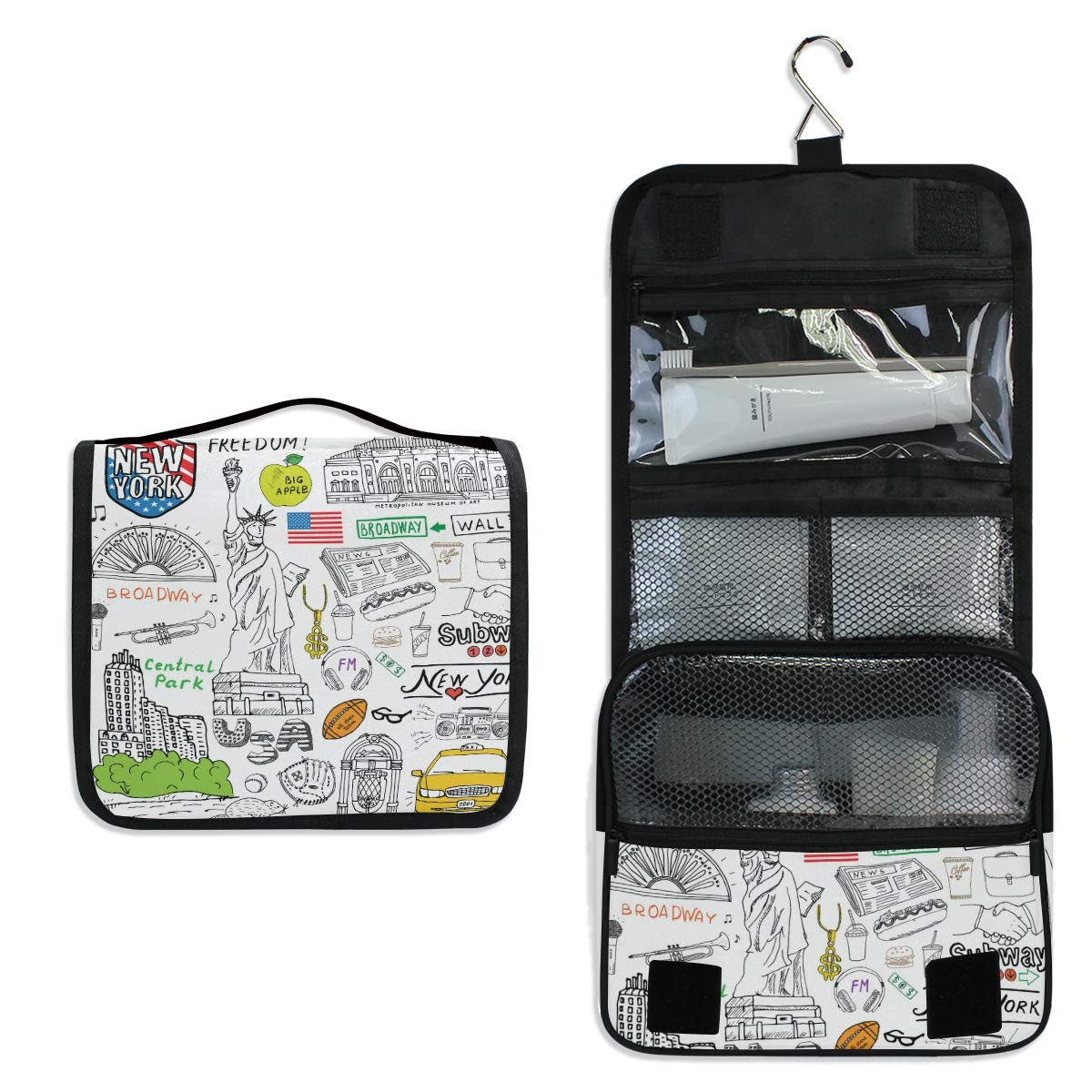 New York Toiletry Bag Multifunction Cosmetic Bag Portable Makeup Pouch Travel Hanging Organizer Bag for Women Girls