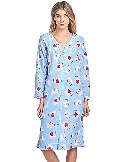 Ashford   Brooks Women s Snap Front Flannel Robe Long Sleeve Lounger ... 2bd34824f