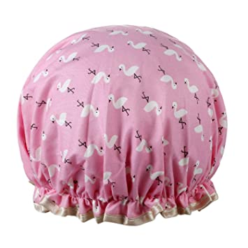 Infant Shower Cap Double Layer Waterproof Polka Dot Cap Wash Hair Cover Bath Hat