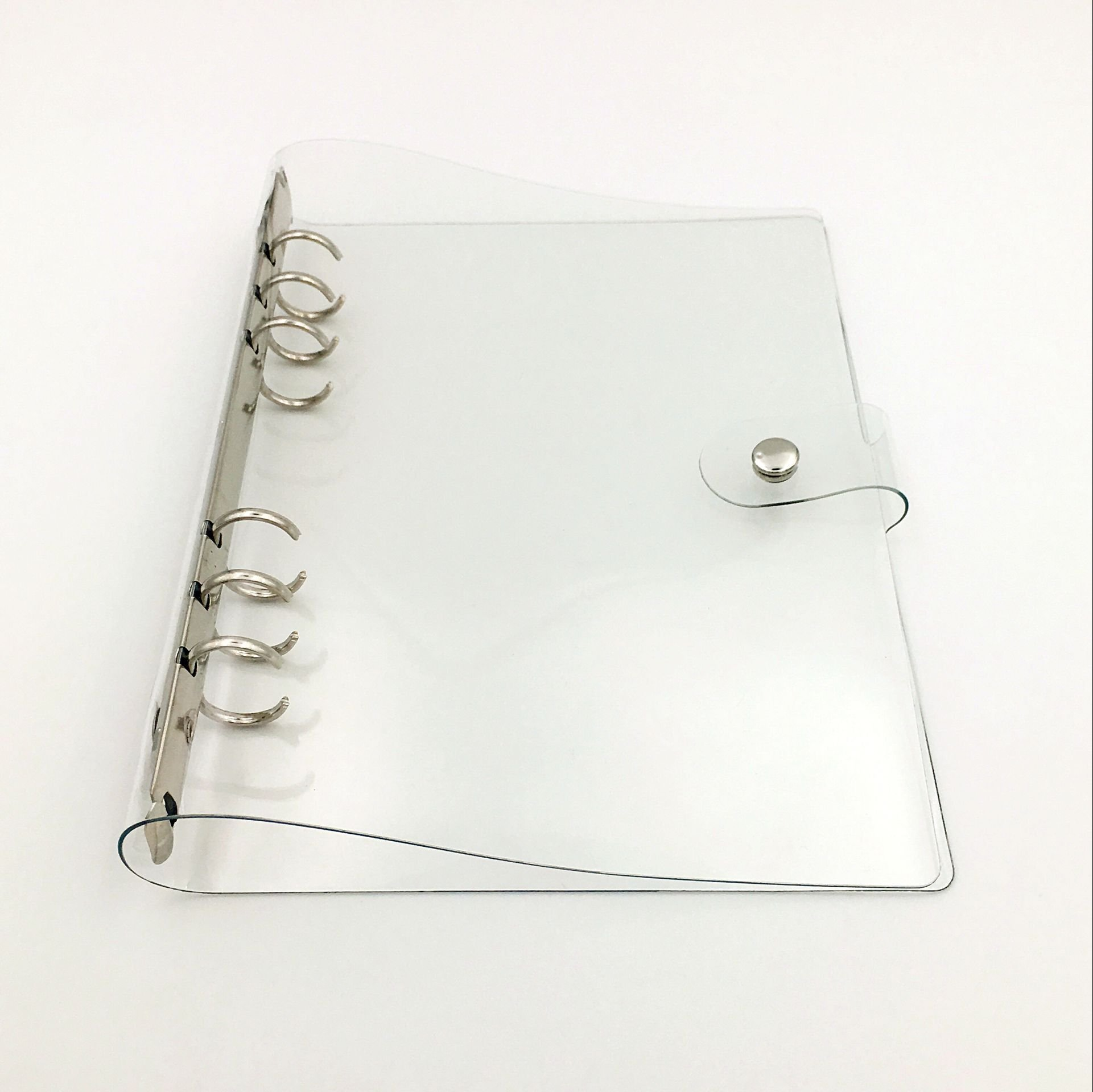 Chris.W 1Pack Transparent Soft PVC 6-Ring Binder Cover w/ Snap Button Closure for Ring-Bound Planner Pages, A5 Size(Inner Paper Not Included)