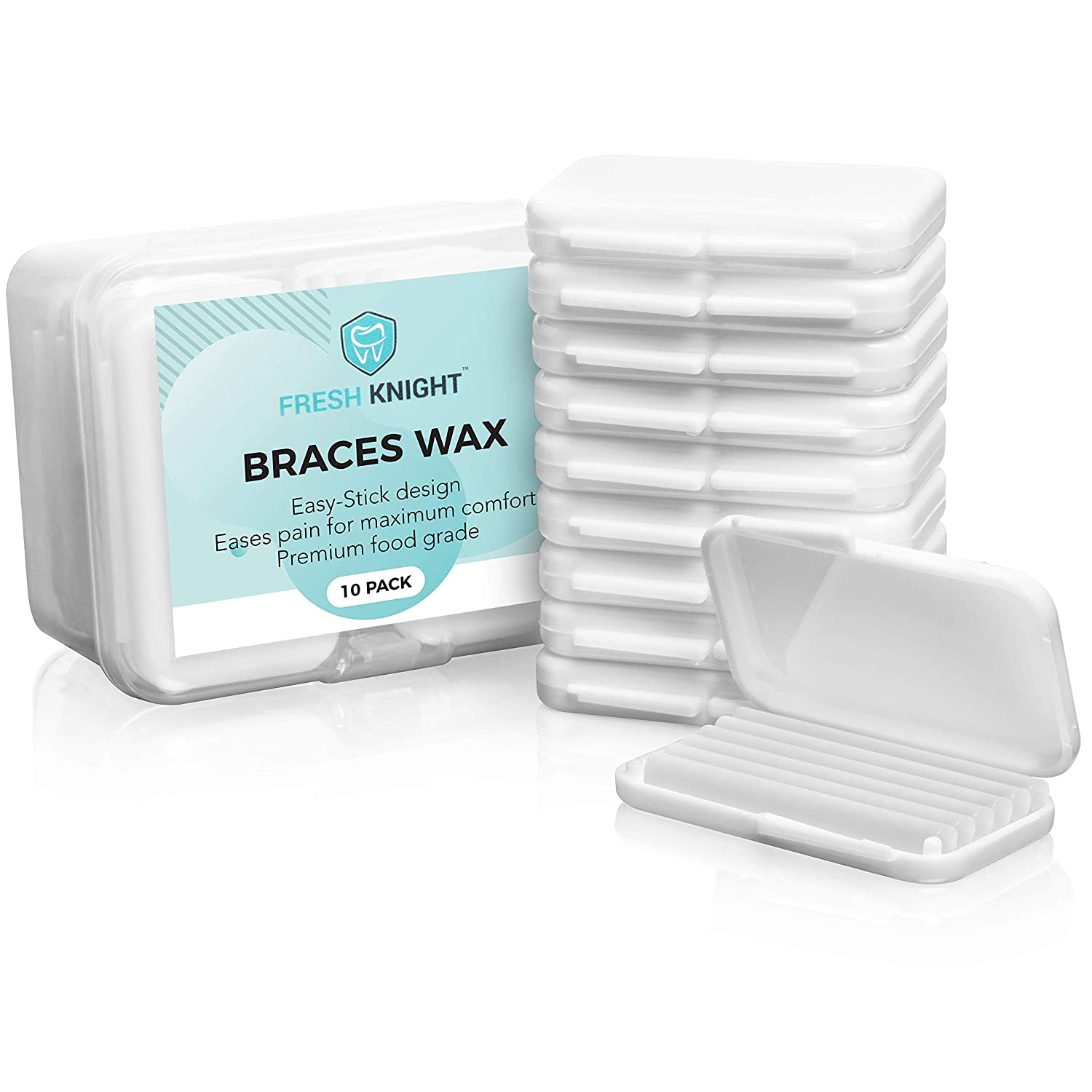 Braces Wax,10 Pack White Cases. Dental Wax for Braces. Unscented & Flavorless - Premium Orthodontic Wax for Braces.10 Pack- 50 Total Wax Strips, FREE Storage Case. Food Grade Brace Wax.