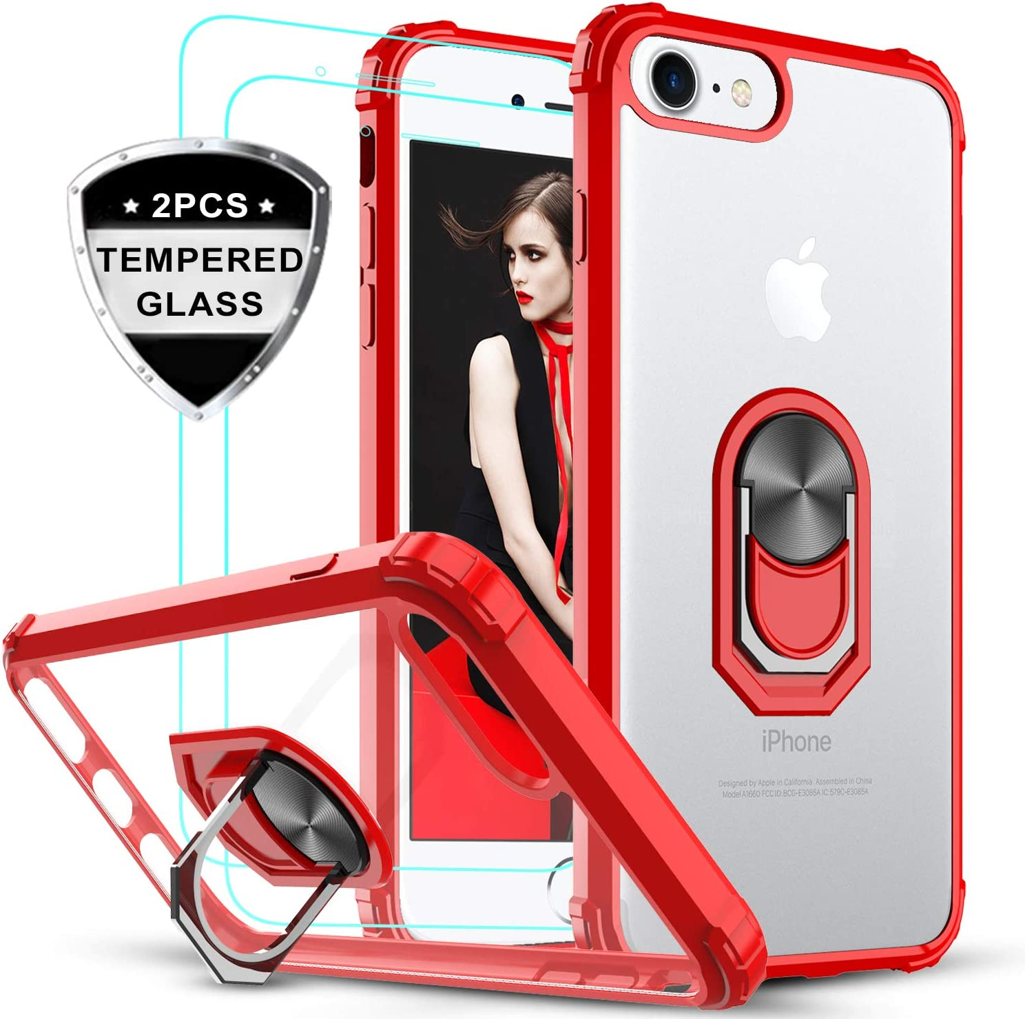 LeYi iPhone SE 2020 Case, iPhone 8/7/ 6/ 6s Case with Tempered Glass Screen Protector [2 Pack], Military-Grade Clear Crystal Phone Case with Car Mount Kickstand for Apple iPhone 6/6s/7/8, Red