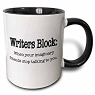 3dRose 157392_4 Writers block when your imaginary friends stop talking to you Mug, 11 oz, Black