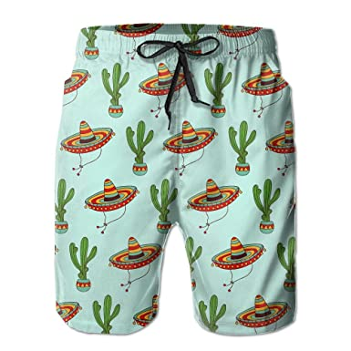 7ab750ed45 Amazon.com: DS-co Mexican Sombrero Hat Cactus Pattern Men's Summer Beach  Quick-Dry Surf Swim Trunks Boardshorts Cargo Pants: Clothing