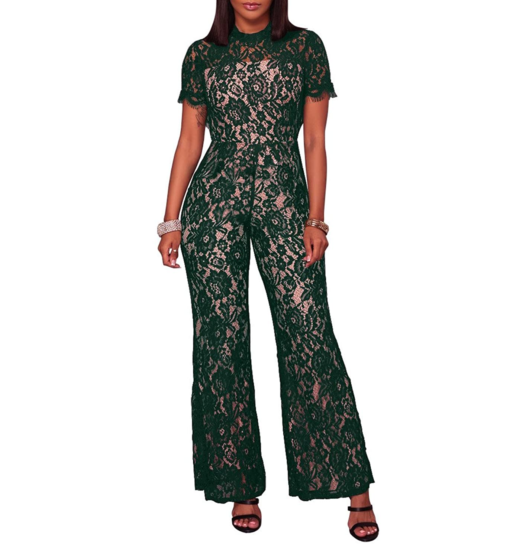Hot Sale 2019 Damen Jumpsuit mit Spitze Kurzarm Elegant