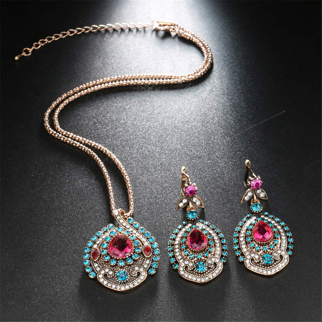 FIANDHJS Ethnic Long Chain Necklace Turkish Wind Fashion Vintage Classic Geometric Alloy Crystal Gem Pendant Statement for Women Jewelry