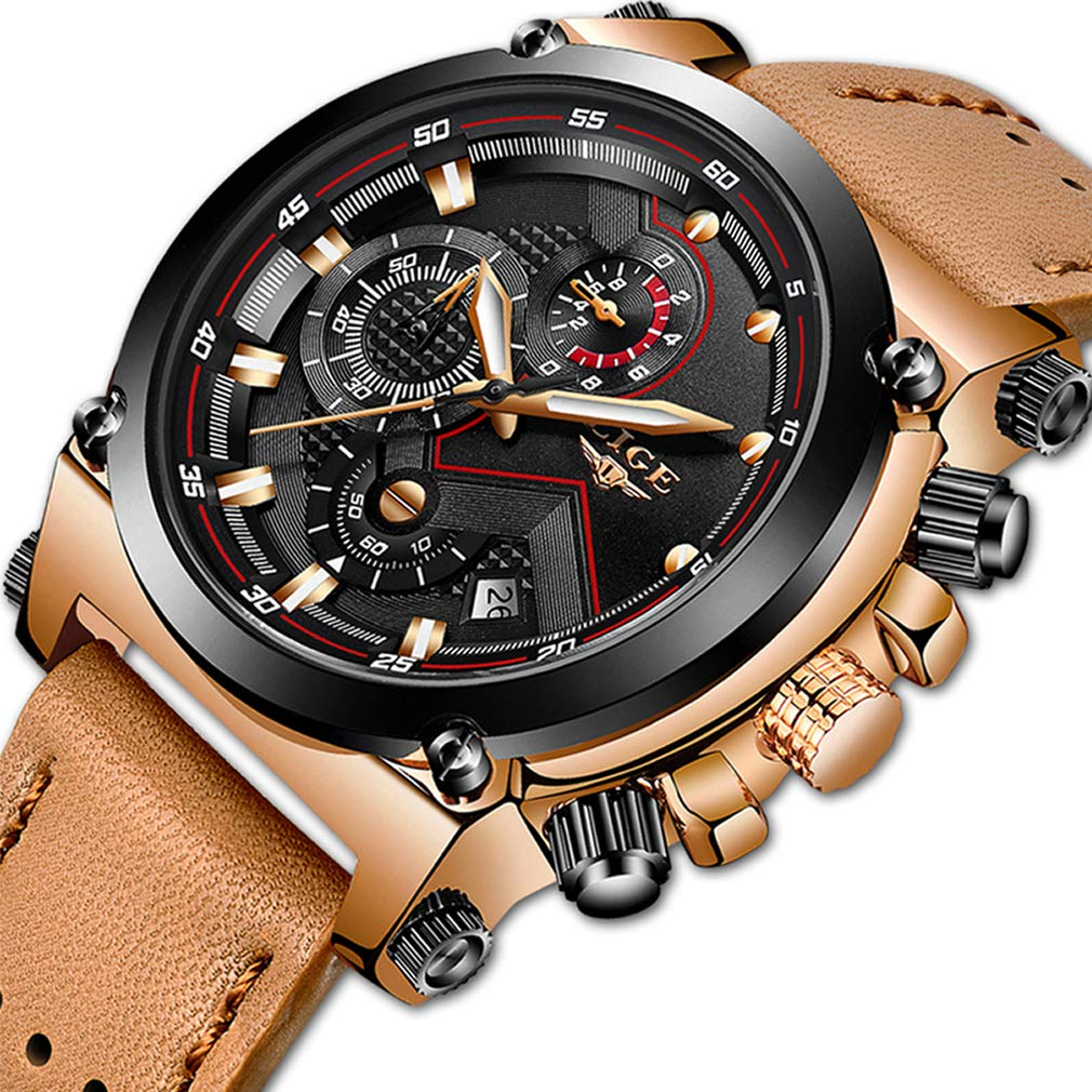 Leather Watches With Lige Chronograph Auto Date Wrist Sport