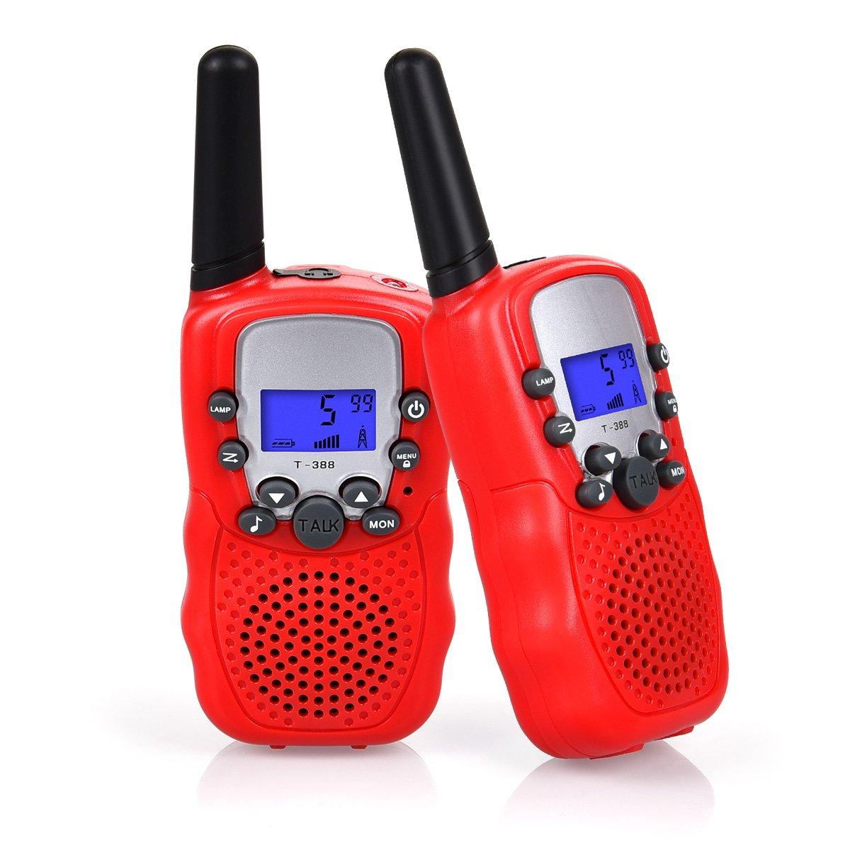 Swiftion Kids Walkie Talkies Long Range Two Way Radios 22 Channel Walky Talky FRS Walkie Talkies for Kids (Red)