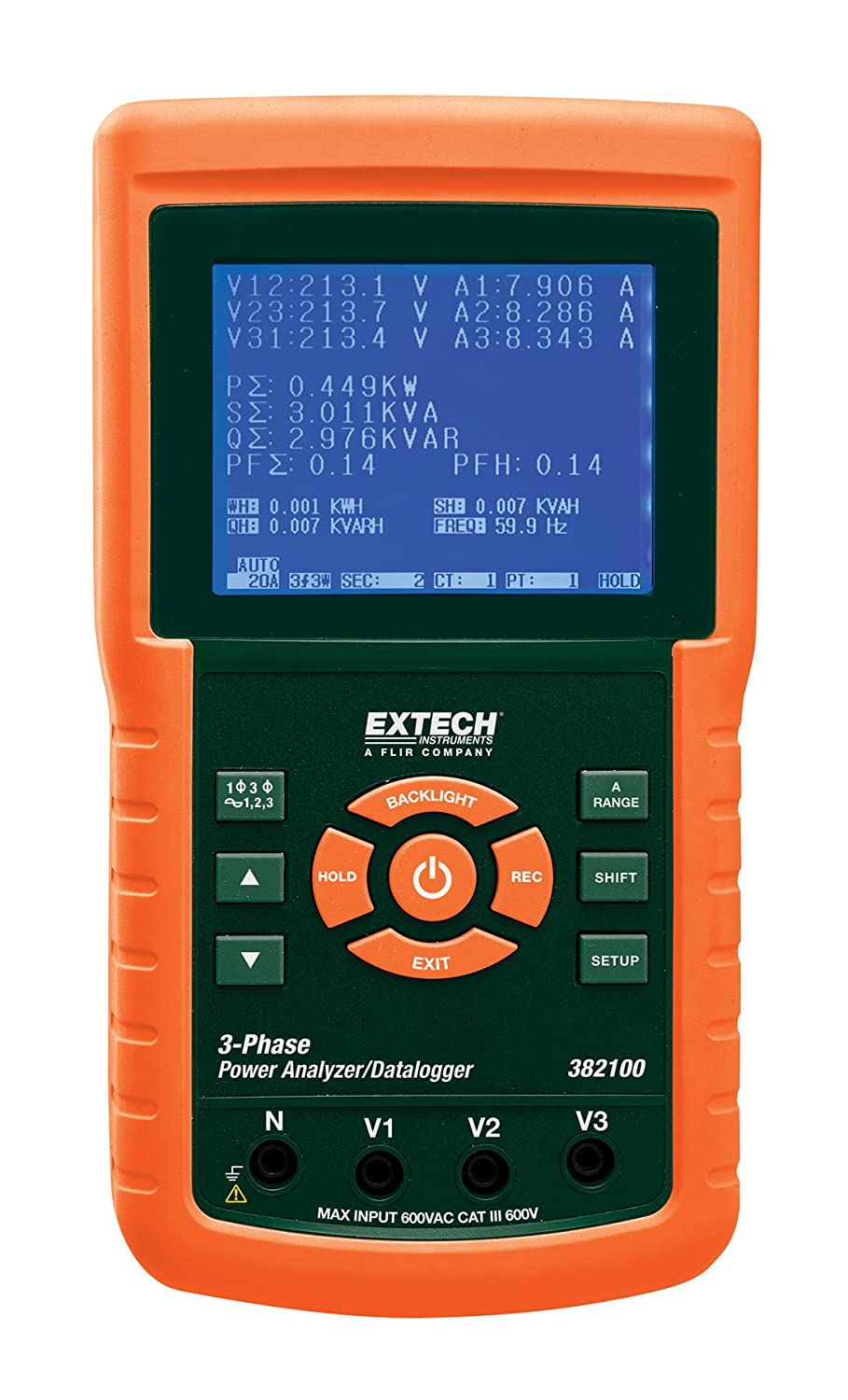 Extech 382100 1200A 3 Phase Power Analyzer Datalogger