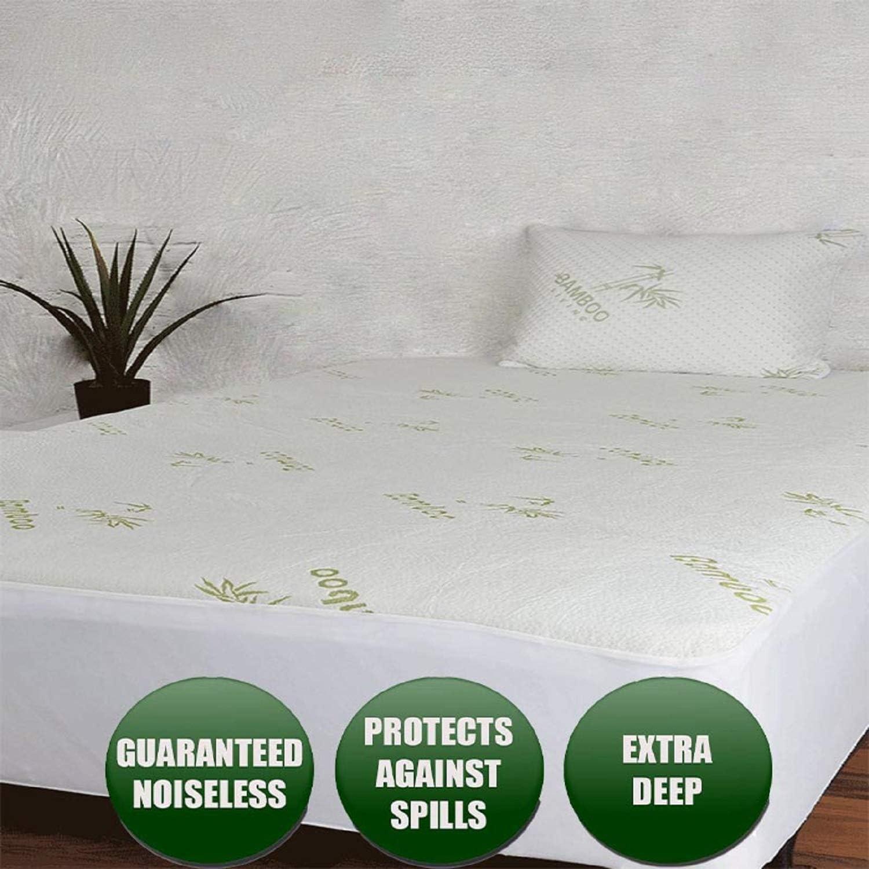 Niagara Sleep Solution Waterproof Bamboo Mattress Protector Queen 60x80 Non Noisy Cooling Breathable Ultra Plush Absorbent Extra Deep Fits 20 Inches Deep Mattress (Queen)