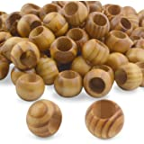 Natural Wooden Beads, 100 Pieces 20mm Diameter Round Loose Spacer Beads Large Hole (10mm) Wooden Craft Beads with…