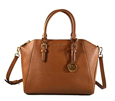 6377e4ea1b4ef1 Michael Kors Ciara Saffiano Leather Large Top Zip Satchel Crossbody Bag  Purse Tote Handbag (Luggage