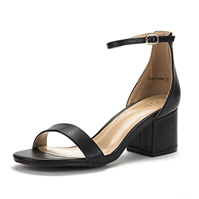 7176075516a08e DREAM PAIRS Women s Low-Chunk Black Pu Low Heel Pump Sandals - 5 ...