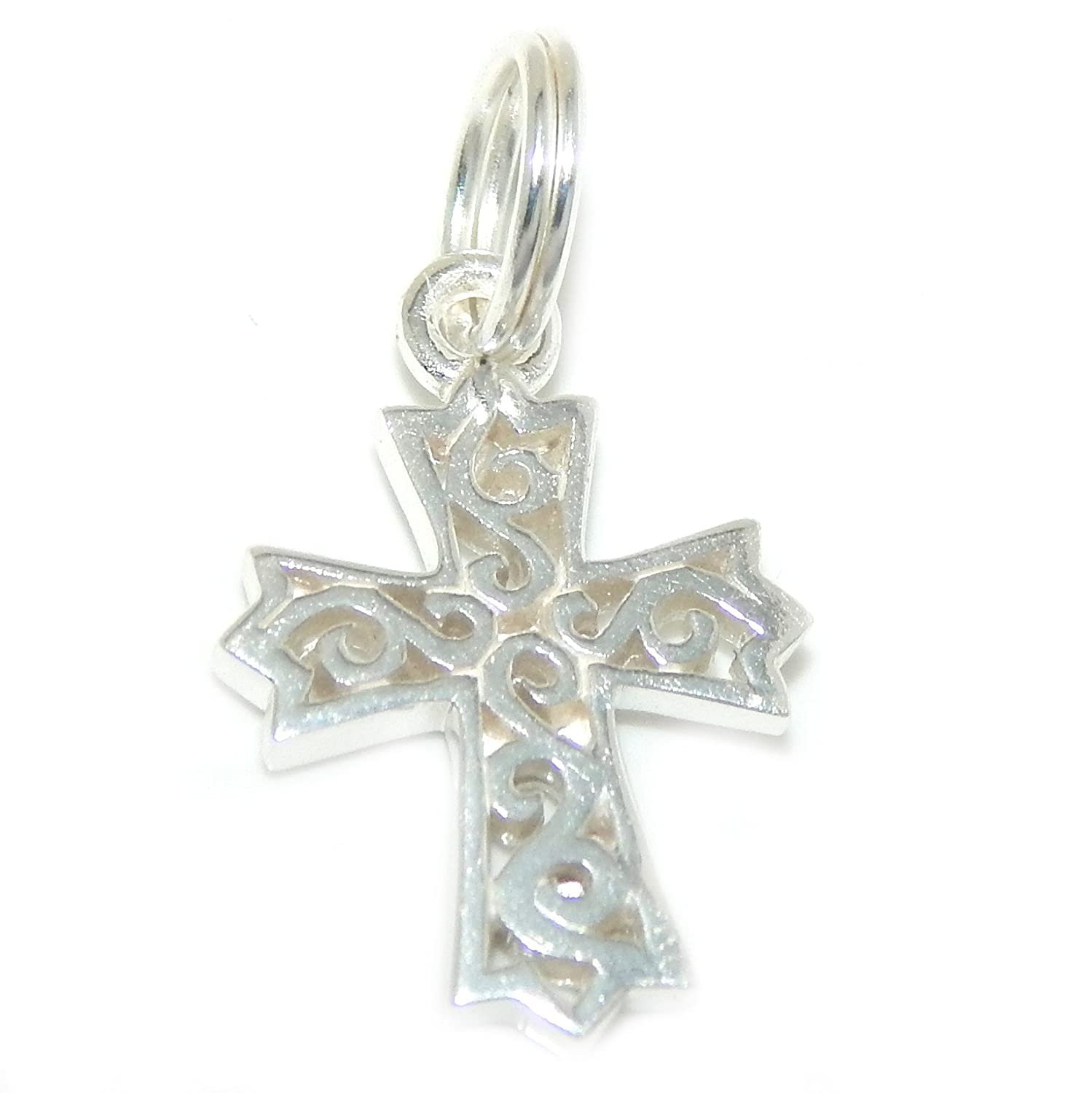 ICYROSE Solid 925 Sterling Silver Dangling Gothic Cross with Scrolls Charm Bead