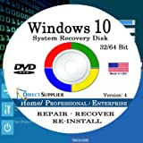 Windows 10 - 32/64 Bit DVD SP1, Supports All Versions. Home, Professional, and Enterprise. Recover, Repair, Restore or Re-install Windows to Factory Fresh!