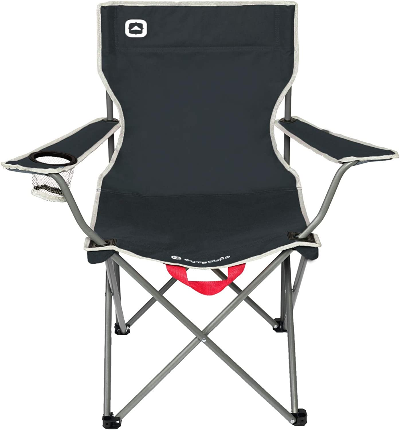 Outbound Camping Chair Portable Foldable Wide Back Quad Chair with Cup Holder Lightweight and Perfect for The Beach, Backpacking, and The Outdoors Black, Gray