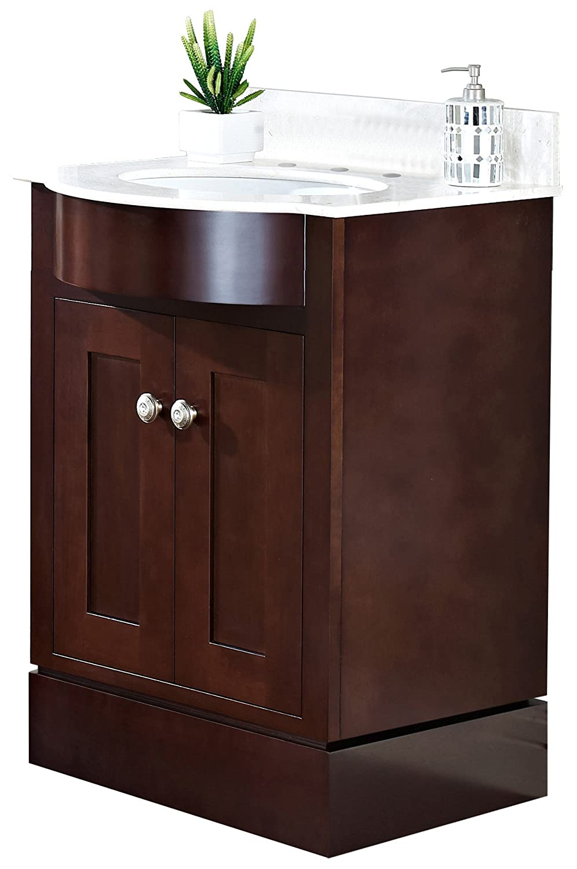 """Jade Bath JB-18525 24"""" W x 22"""" D Transitional Birch Wood-Veneer Vanity Base Set Only, Coffee delicate"""