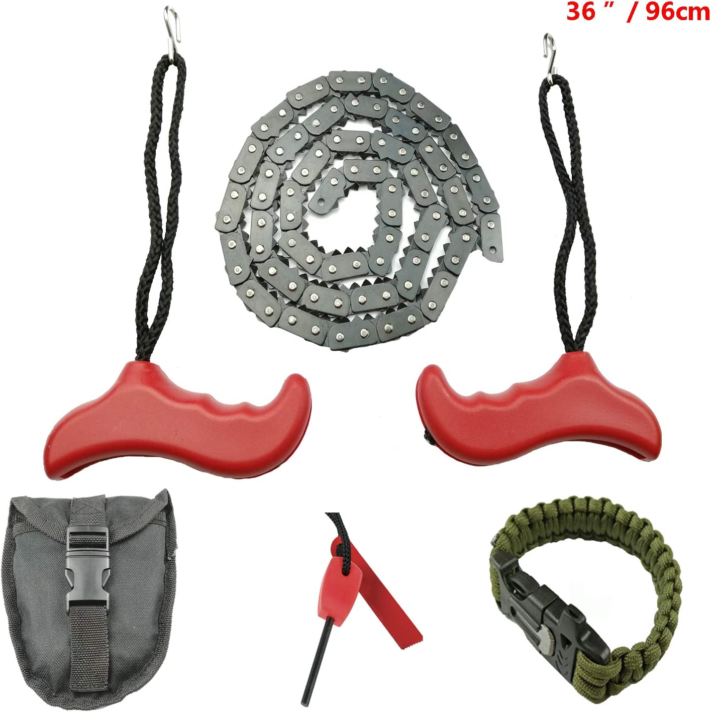 Toolshouse Hand Chain Saw,Pocket Chainsaw with Survival Bracelet.Portable Folding Hand Saw,Fast Tree Cutting for Camping,Hiking Gardening and Outdoor Emergency Hunting