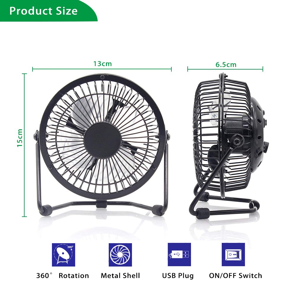 Small and Quiet Metal Design for Home Office Personal Cooling DC 5V Energy Saving USB Desk Fan