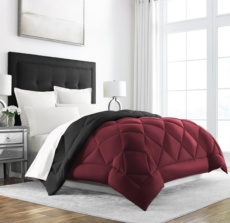 Sleep Restoration Goose Down Alternative Comforter - Reversible - All Season Hotel Quality Luxury Hypoallergenic Comforter - Full/Queen - Burgundy/Black