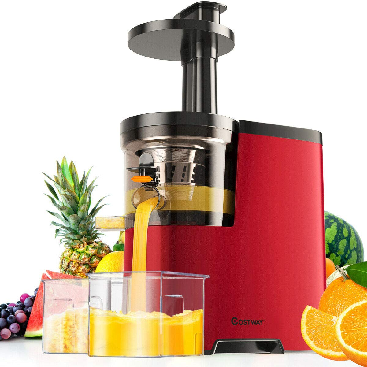 COSTWAY Slow Masticating Juicer Machine, Juicer Extractor with Cold Press Masticating Squeezer Mechanism Technology, Quiet Motor & Reverse Function, High Nutrient Fruit and Vegetable Juice, BPA-Free, 60R/M, 150W