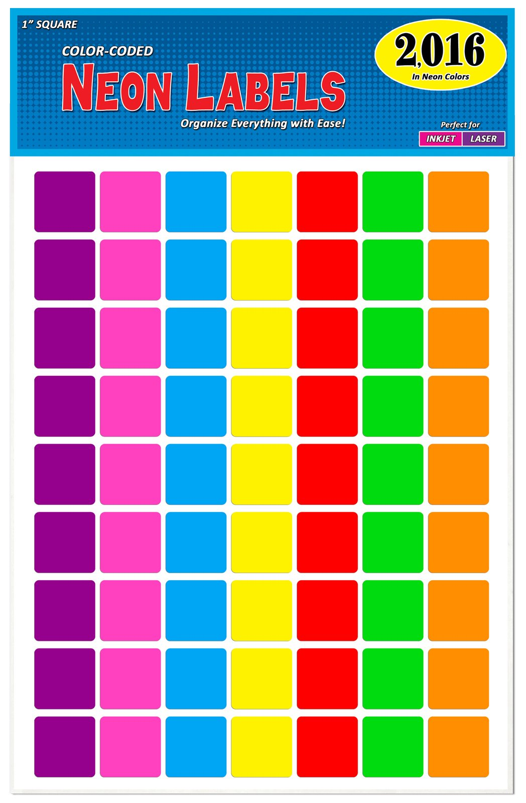 Pack of 2016 1-Inch Square Color Coding Dot Labels, 7 Bright Neon Colors, 8 1/2'' x 11'' Sheet, Fits All Laser/Inkjet Printers, 63 Labels per Sheet, 1''