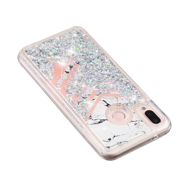 XCYYOO Funda Huawei P20 Lite Silicona Carcasas,[3D Dynamic Quicksand Glitter Líquido Bling] Transparente Suave Ultrafina Gel Silicona TPU Anti-Choque ...