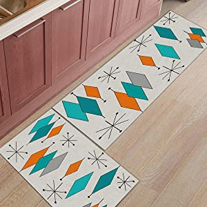 """Libaoge Kitchen Rugs and Mats Set of 2 - Mid-Century Modern Diamond Gray Pattern Doormat with Non Skid Rubber Backing Floor Mat Accent Area Runner Indoor Entrance Carpet 15.7""""x23.6""""+15.7""""x47.2"""""""