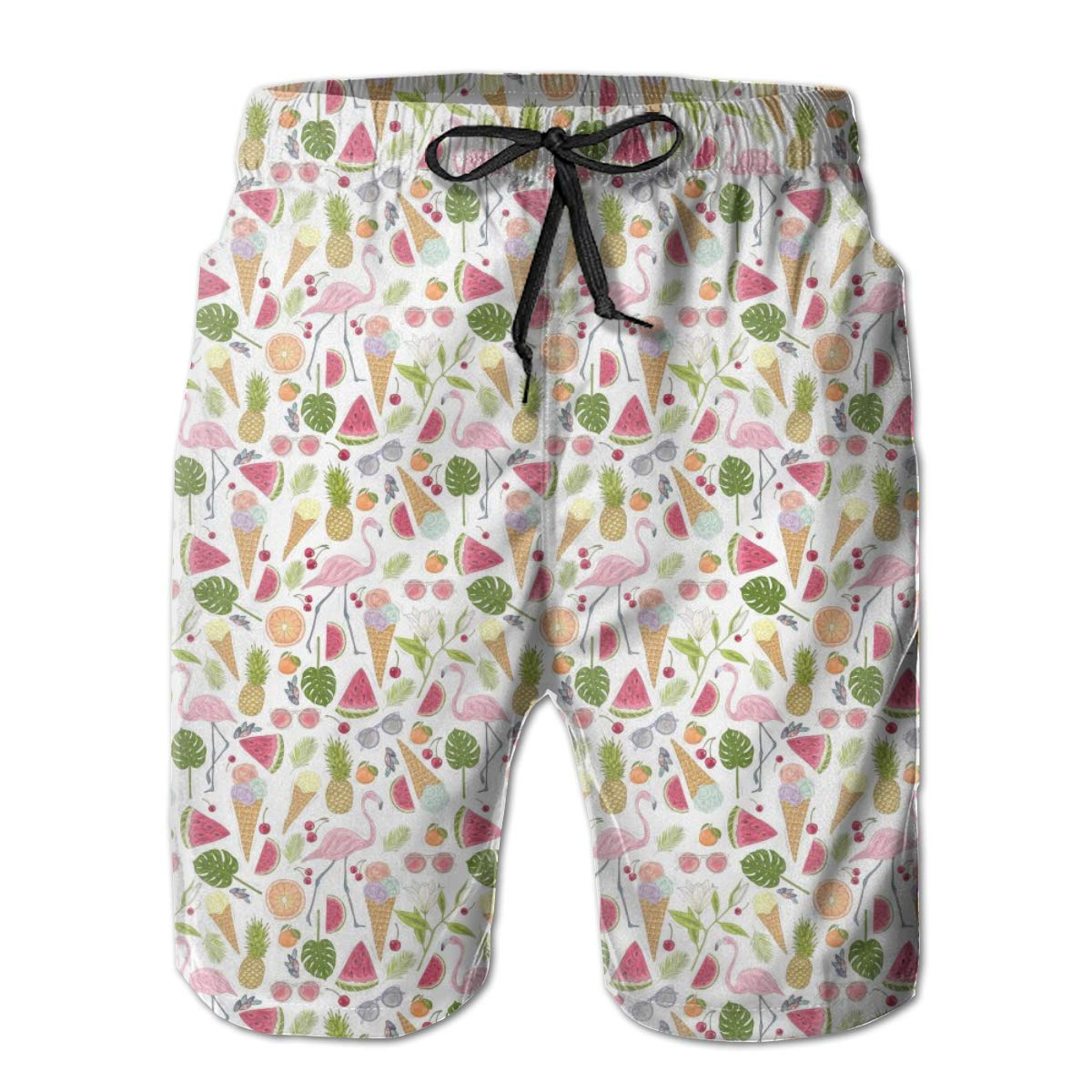 HZamora/_H Men Summer and Flamingo Summer Breathable Quick-Drying Swim Trunks Beach Shorts Board Shorts