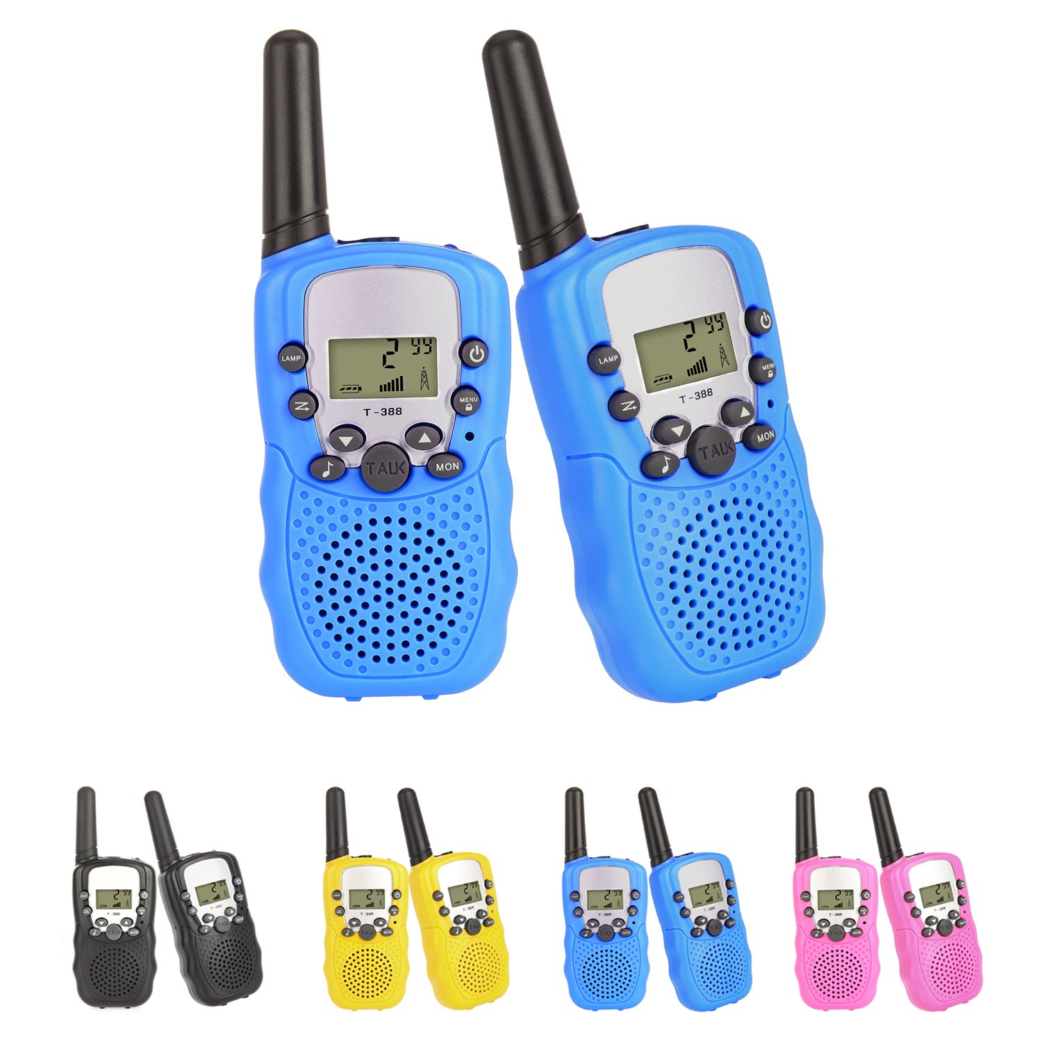2 pcs Walkie Talkies Radio 3KM Range 8 Channels VOX Flashlight Battery Operated Handset with Indicator and Belt Clip for Children Outdoor Camping Hiking (Batteries Not Included) (Black * 2) Colleer DZDJ0002BK0UK