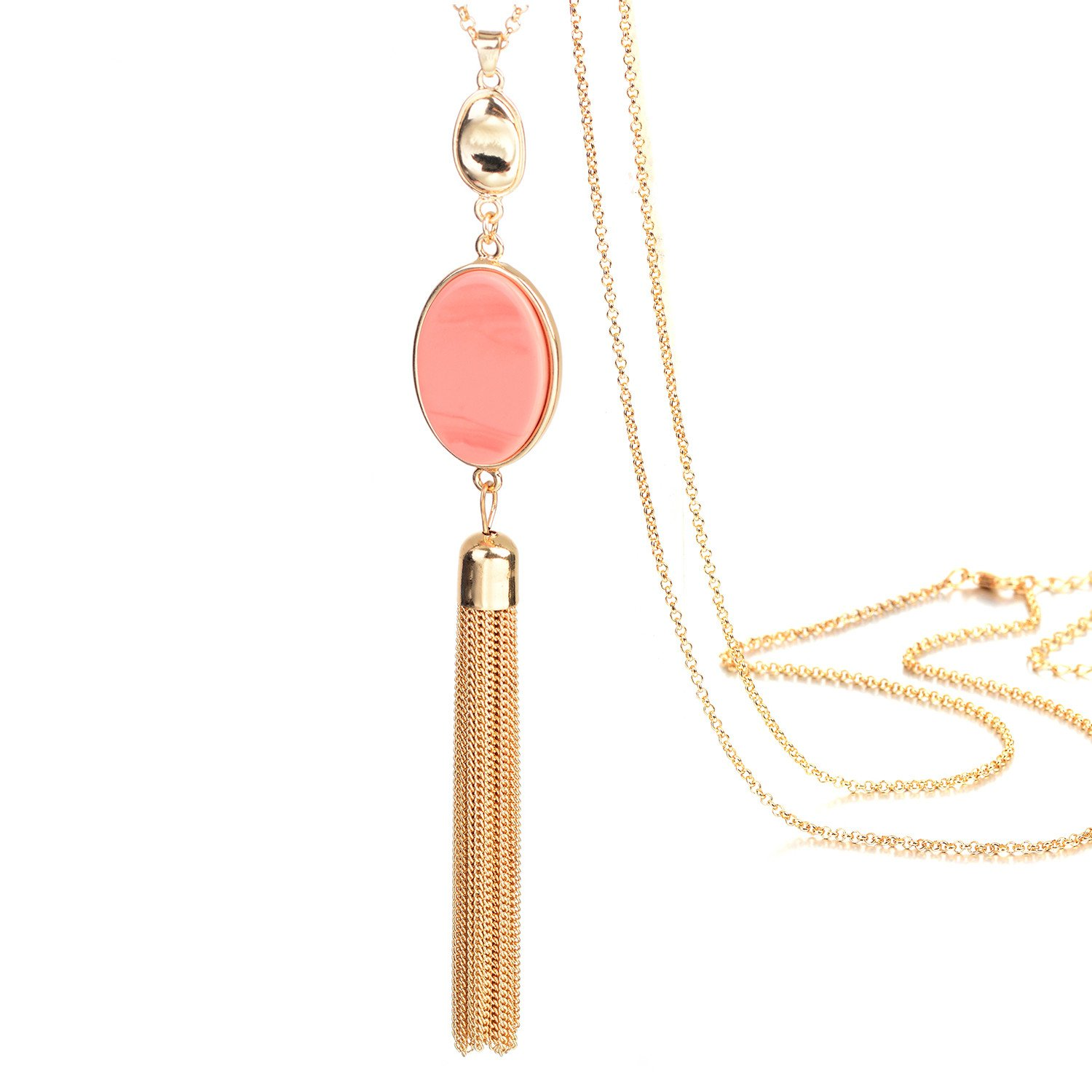 Gold Tone Long Chain Oval Pink Stone Pendant Tassel Necklace for Women Fashion Jewellery: Amazon.co.uk: Jewellery