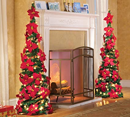 collections etc lighted holiday poinsettia pull up christmas tree with red poinsettias white