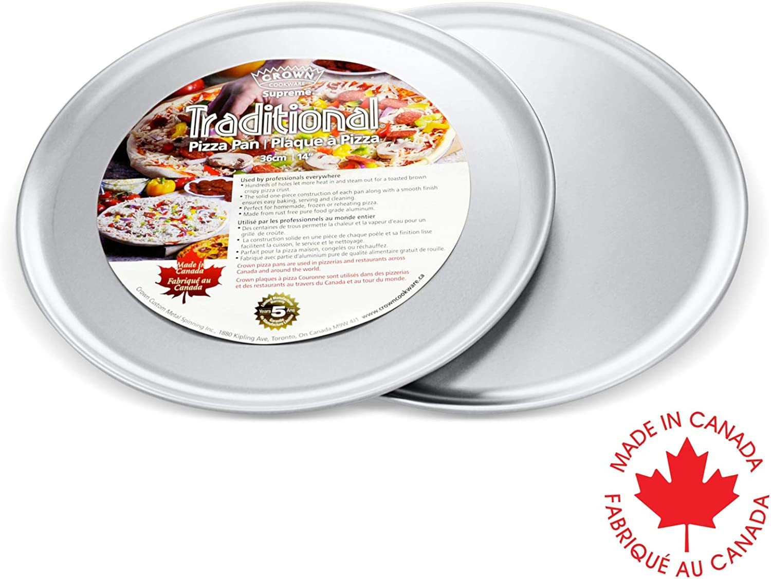 Crown Solid Pizza Pan 10 inch, 2 Pack, Pizza Tray for Oven, Extra Sturdy, Pure Food-Grade Aluminum, Easy to Clean, Sizes 10-16 inch Available
