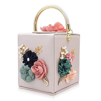 3254b770469e Milisente Women Clutches Flower Clutch Bag Box Clutch Purse Evening Handbag  (Beige)