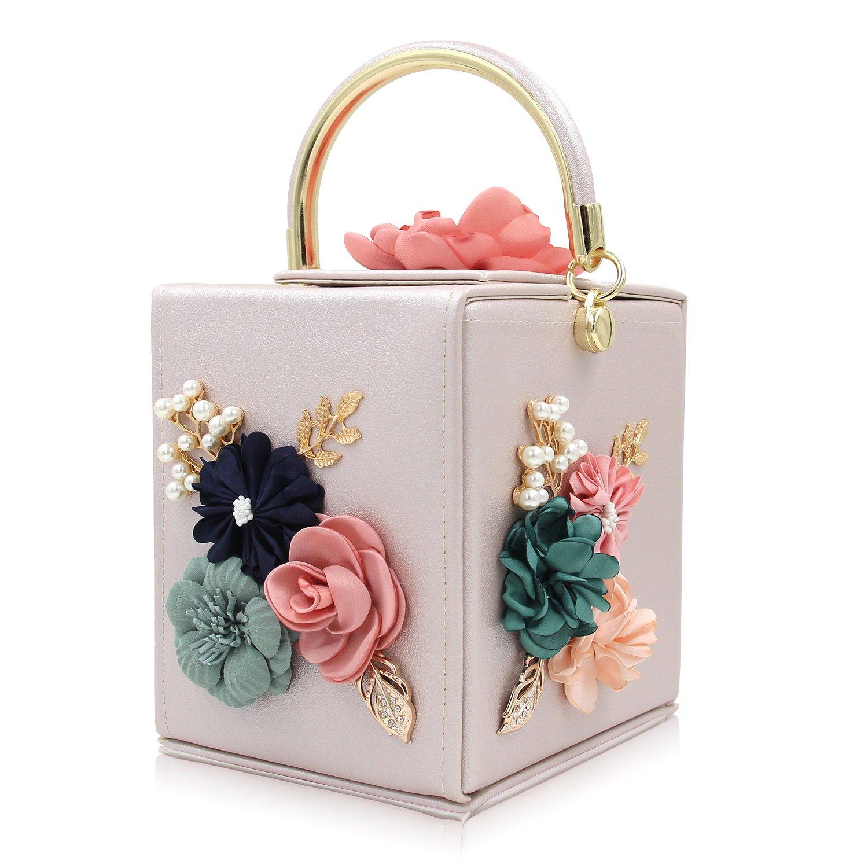Milisente Women Clutches Flower Clutch Bag Box Clutch Purse Evening Handbag (Beige)