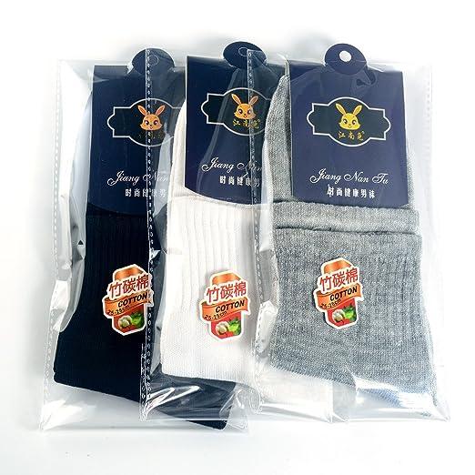 Kinlene Calcetines de algodón de negocios para hombre de alta calidad Calcetines grises negros blancos ocasionales WH: Amazon.es: Ropa y accesorios