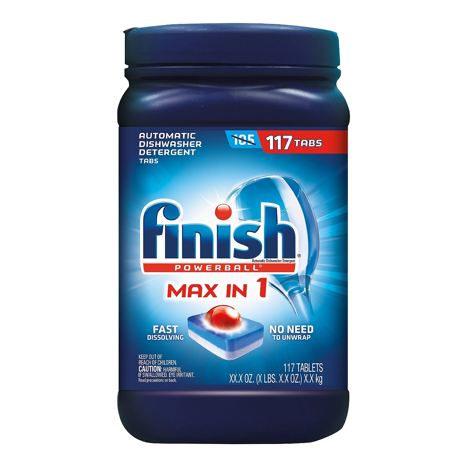Finish Powerball Max-in-1 Automatic Dishwasher Detergent, 117 ct.- 2 Packs