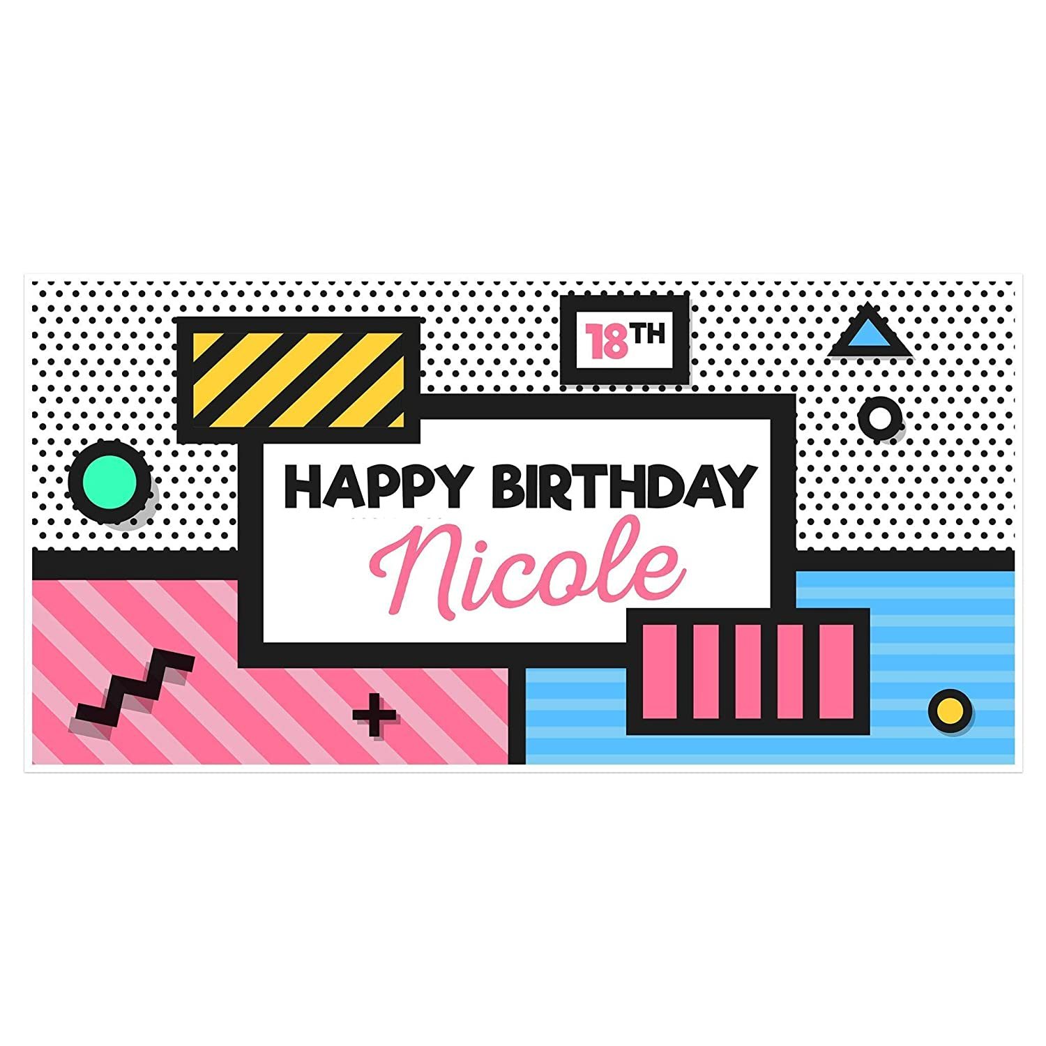 Personalised Happy Birthday Party Gift Idea Banner Supplies Canvas Decorations