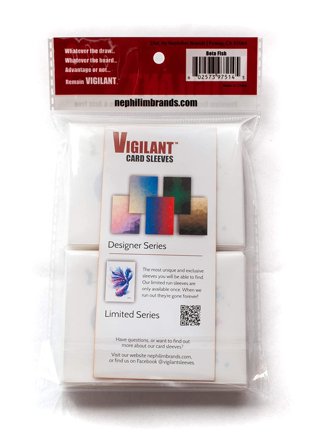 Non Glossy Vigilant Card Sleeves Standard Size Limited Art Print 100 Count BettaFish