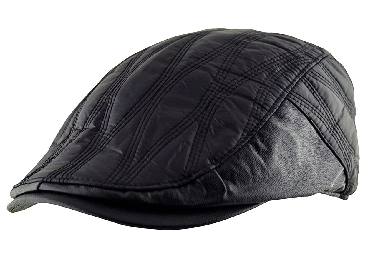 027feaa6de2b8 Itzu Men s Flat Cap Faux Leather Trim Hat Pre Curved Newsboy Gatsby Golf  Lined Button Closure Black  Amazon.co.uk  Clothing