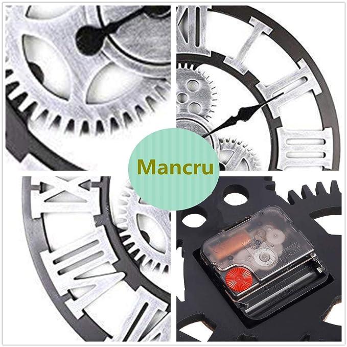 Mancru Équipement 3D Industriel Horloge Murale Ronde Grande Taille en Style  Vintage muet Horloge Murale 16-40cm de diamètre  Amazon.fr  Cuisine   Maison b53aa759221c