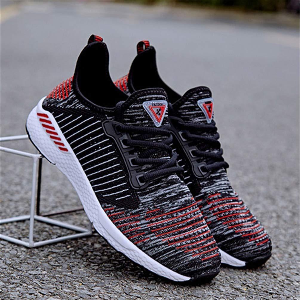 ZHRUI Mesh Laufschuhe für Herren Damen Turnschuhe Turnschuhe Turnschuhe Outdoor Atmungsaktiv Bequeme Athletische Flache Schuhe (Farbe   Schwarz Rot, Größe   6.5=40 EU) de6944